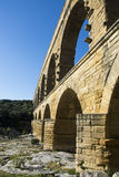 Pont du Gard. The Pont du Gard is an ancient Roman aqueduct that crosses the Gardon River in the south of France Royalty Free Stock Photos