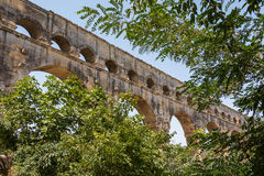 Pont du Gard, ancient Roman aqueduct in France Royalty Free Stock Images