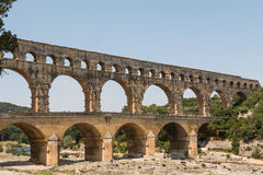 Pont du Gard, ancient Roman aqueduct in France Royalty Free Stock Photos