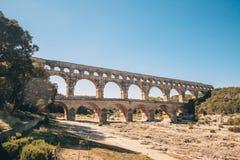 Pont du Gard. Is - ancient Roman aqueduct on the Gardon River - Vers-Pont-du-Gard in southern France stock photo