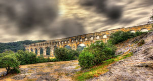 Pont du Gard, ancient Roman aqueduct Stock Images