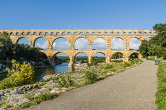 Pont du Gard, ancient roman's bridge in Provence, France Royalty Free Stock Images