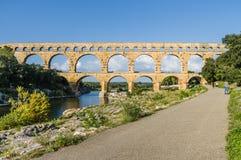 Pont du Gard, ancient roman's bridge in Provence, France Royalty Free Stock Images