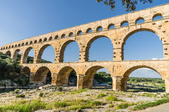 Pont du Gard, ancient roman's bridge in Provence, France Royalty Free Stock Photography
