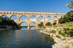 Pont du Gard, ancient roman's bridge in Provence, France Stock Photography