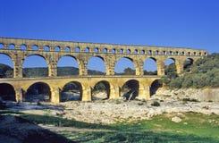 Pont du Gard Aqueduct. The ancient roman aqueduct Pont du Gard in Provence, France royalty free stock images