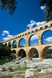 Pont du Gard Aqueduct. The Pont du Gard, an ancient Roman aqueduct bridge that crosses the Gard River in southern France Royalty Free Stock Image