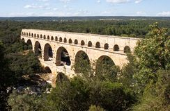 Pont du Gard aqueduct. The Pont du Gard aqueduct in southern France Royalty Free Stock Photos