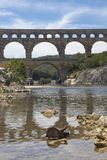 Pont du Gard - aqueduct in France royalty free stock photos
