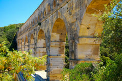 Pont du Gard Aqueduct UNESCO. Pont du Gard, part of the 1st century Roman aqua-duct, built to supply water to Nimes. The structure was built shortly before the Royalty Free Stock Photo