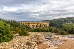 Pont du Gard, aqueduto romano antigo, local do UNESCO em França Imagem de Stock Royalty Free