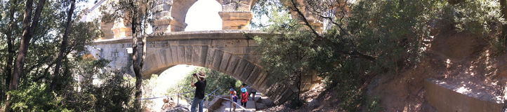 Pont du Gard architecture detail panorama, France Stock Images