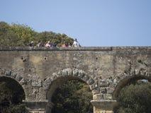 Pont du Gard arkitekturdetalj, Frankrike Fotografering för Bildbyråer