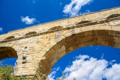 Pont du Gard closeup royalty free stock image