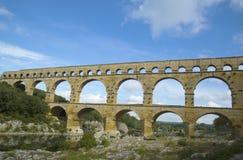 Pont du Gard, een oude Roman aquaductbrug bouwt de de 1st eeuwadvertentie in Stock Foto