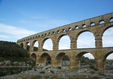 Pont du Gard, een oude Roman aquaductbrug bouwt de de 1st eeuwadvertentie in Stock Afbeelding