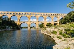 Pont du Gard, forntida romans bro i Provence, Frankrike Arkivbild