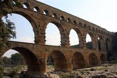 Pont du gard forntida romersk akvedukt Arkivbild