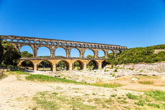Pont du Gard, France. Antique aqueduct, included in the UNESCO list Royalty Free Stock Image