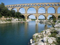 Pont Du Gard in France, World Heritage Site. The ancient Roman aqueduct bridge Pont Du Gard, crossing the Gard river in southern France. Part of the UNESCO List Royalty Free Stock Images