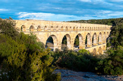 Pont du Gard full side top view Stock Photography