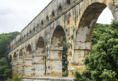 Pont du Gard. (Gard, Languedoc-Roussillon, France), the famous bridge, Unesco World Heritage Site Royalty Free Stock Photography