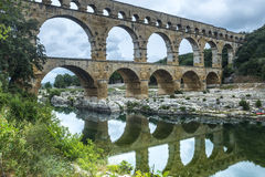 Pont du Gard. (Gard, Languedoc-Roussillon, France), the famous bridge, Unesco World Heritage Site Royalty Free Stock Photo