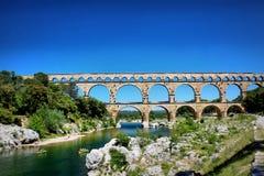 Pont du Gard, Nîmes, Frankrijk Stock Foto