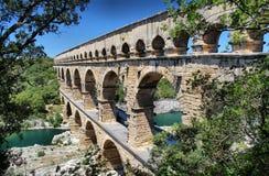 Pont du Gard, Nîmes, Zuid-Frankrijk Stock Foto