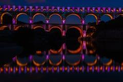 Pont du Gard at night (France) Stock Images