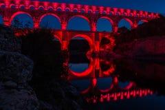 Pont du Gard at night (France) Stock Image