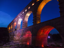Pont du Gard. At night. Vers-Pont-du-Gard, Gard, France Royalty Free Stock Photo
