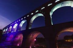 Pont du Gard. At night. Vers-Pont-du-Gard, Gard, France Royalty Free Stock Photography