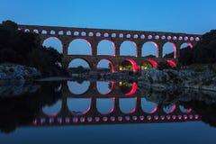 Pont du Gard. At night. Vers-Pont-du-Gard, Gard, France Royalty Free Stock Image
