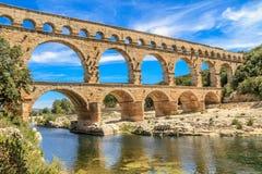 Pont du Gard, Nimes, Провансаль, Франция Стоковые Фото