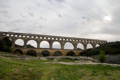Pont du Gard, Nimes, Frankrike Arkivbilder