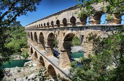 Pont du Gard, Nimes, South France. The Pont du Gard is an ancient Roman aqueduct that crosses the Gardon River in the south of France Stock Photo