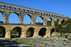 Pont Du Gard. Is an old Roman aqueduct near Avignon Royalty Free Stock Photography