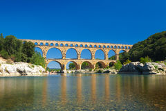 Pont du Gard is an old Roman aqueduct near Nimes in France Royalty Free Stock Images
