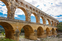 Pont du Gard, an old Roman aqueduct near Nimes in Southern Franc Stock Image