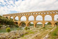 Pont du Gard, an old Roman aqueduct near Nimes in Southern Franc Stock Photo