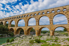 Pont du Gard, an old Roman aqueduct near Nimes in Southern Franc Royalty Free Stock Photo