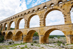 Pont du Gard, an old Roman aqueduct near Nimes in Southern Franc Stock Photography