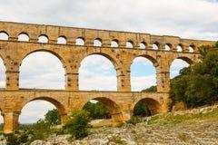 Pont du Gard, an old Roman aqueduct near Nimes in Southern Franc Royalty Free Stock Image