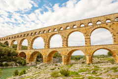 Pont du Gard, an old Roman aqueduct near Nimes in Southern Franc Royalty Free Stock Photography