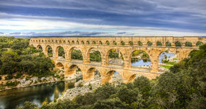 Pont Du Gard. Is an old Roman aqueduct near Nimes in Southern France Stock Photo