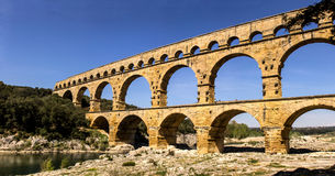 Pont du Gard. Is an old Roman aqueduct near Nimes in Southern France Stock Images