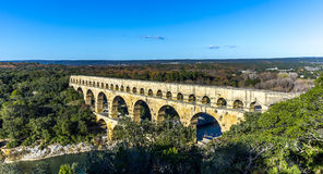 Pont du Gard is an old Roman aqueduct near Nimes. In Southern France Stock Images