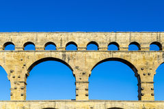 Pont du Gard is an old Roman aqueduct near Nimes royalty free stock photo