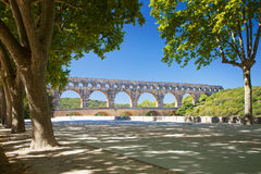 Pont du Gard is an old Roman aqueduct near Nimes  Stock Images